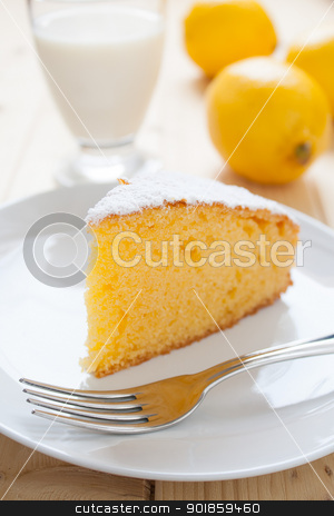 Lemon Cake stock photo, Slice of lemon cake in a dish on wood table by Giordano Aita