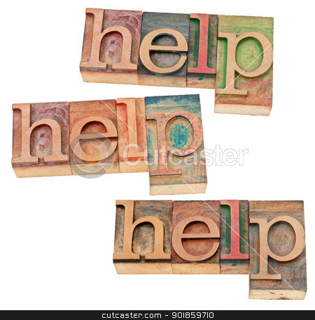 help concept in wood type stock photo, help concept - three isolated words in vintage letterpress wood type by Marek Uliasz