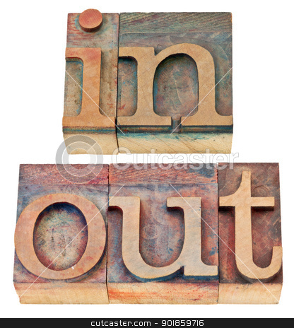 in and out word in wood type stock photo, in and out - isolated words in vintage letterpress wood type by Marek Uliasz