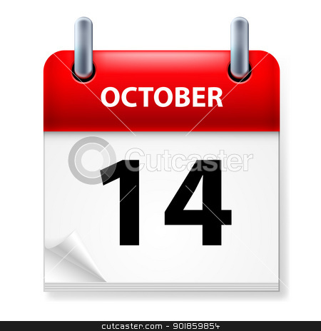 Calendar stock photo, Fourteenth October in Calendar icon on white background by dvarg