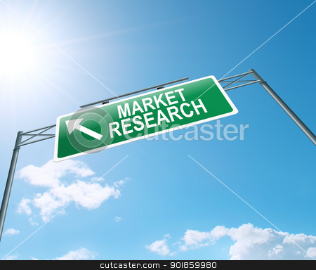 Market research concept. stock photo, Illustration depicting an overhead highway gantry sign with a market research concept. Blue sky background. by Samantha Craddock