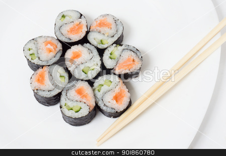 Various kinds of sushi and sashimi stock photo, Various kinds of sushi and sashimi. Isolated. by Evgeniy Ovchinnikov