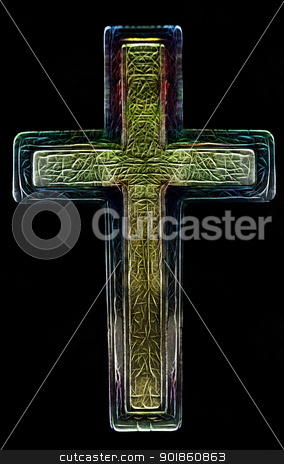 3D Christian Cross Art stock photo, 3D Two Layered Isolated Christian Cross Art Illustration  by Snap2Art