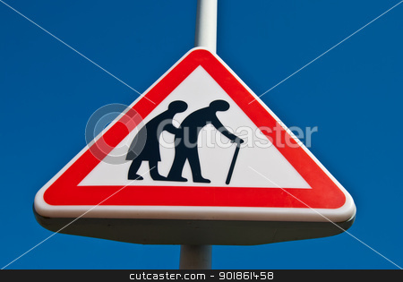 Elderly people stock photo, traffic sign for paying attention for elderly people by Juliane Jacobs