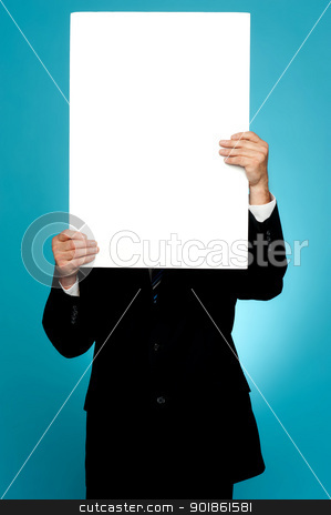 Manager hiding his face behind white banner ad stock photo, Manager hiding his face behind white banner ad isolated on gradient background by Ishay Botbol