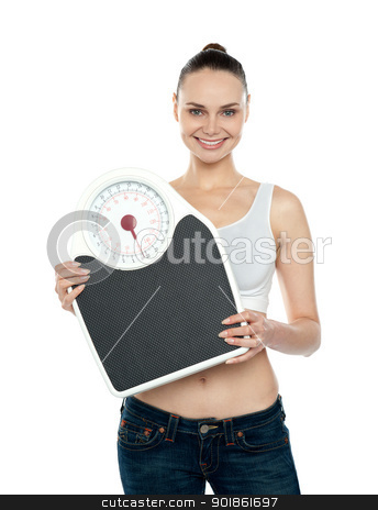 Healthy young woman with a weighing scale stock photo, Healthy young woman with a weighing scale isolated over white background by Ishay Botbol
