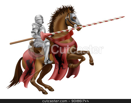 Knight with lance on horse stock vector clipart, Illustration of a knight mounted on a horse holding a lance ready to joust by Christos Georghiou