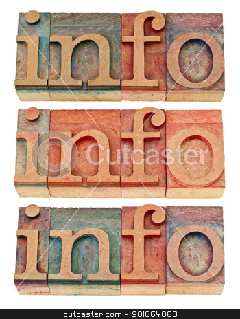 info word in wood type stock photo, info - isolated word in vintage letterpress wood type, three versions by Marek Uliasz