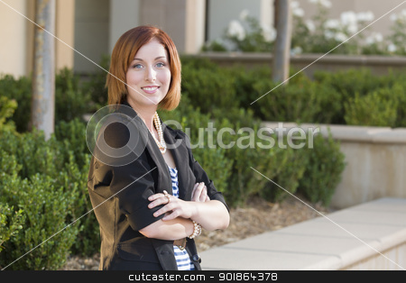 Young Pretty Businesswoman Portrait Outside stock photo, Smiling Young Pretty Businesswoman Portrait Outside. by Andy Dean