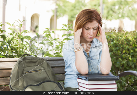 Female Student Outside with Headache Sitting with Books and Back stock photo, Young Female Student with Headache Sitting with Books and Backpack on Campus Bench. by Andy Dean