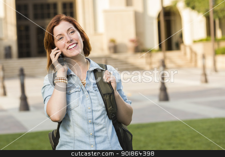 Young Female Student Walking Outside Using Cell Phone stock photo, Smiling Young Pretty Female Student with Backpack Walking Outside Using Cell Phone. by Andy Dean
