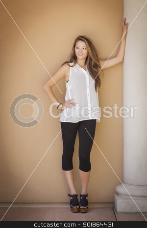 Attractive Mixed Race Girl Portrait stock photo, Attractive Mixed Race Girl Portrait Outdoors. by Andy Dean