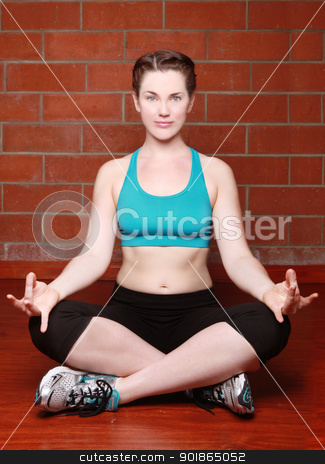 Beautiful Female Working Out With Yoga stock photo, Caucasian Female Working Out With Yoga by Katrina Brown