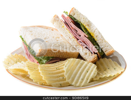 Bologna Sandwich stock photo, Bologna sandwich with potato chips, isolated on a white background. by Richard Nelson