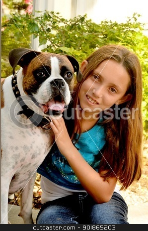 Girl and Dog stock photo, Young lady and her best friend by Timothy OLeary