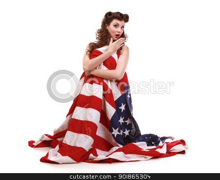 Pin Up Girl in Studio With American Flag stock photo,  Pin Up Style Girl in Studio With American Flag by Katrina Brown