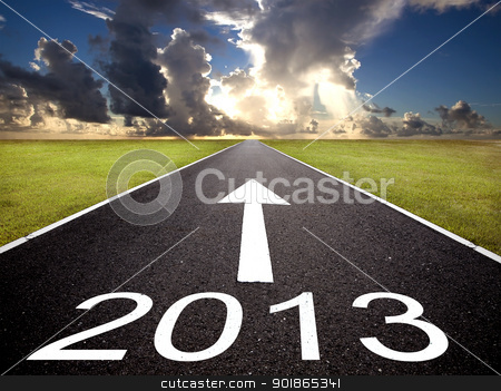 road to the 2013 new year and  sunrise background stock photo, road to the 2013 new year and  sunrise background by tomwang