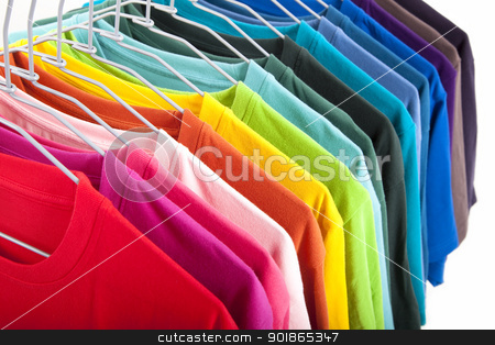 colorful t-shirt isolated on white background stock photo, colorful t-shirt isolated on white background by tomwang