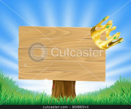 Golden crown hanging on sign stock vector clipart, Wooden sign in green field with a retro golden crown hanging on one corner by Christos Georghiou