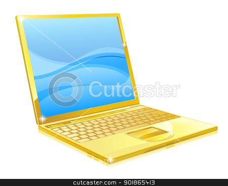 Gold laptop computer stock vector clipart, An illustration of a shiny golden laptop computer  by Christos Georghiou