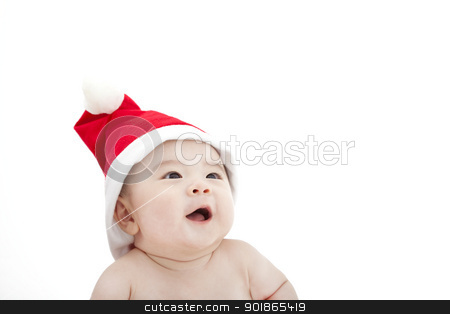 sweet baby in christmas hat stock photo, sweet baby in christmas hat by tomwang