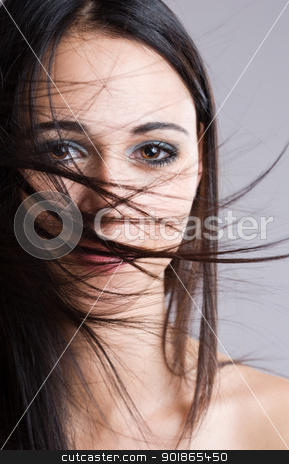 Windswept mystery. stock photo, Closeup portrait of a beautiful brunette with face covered by windswept hair. by exvivo