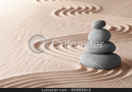 zen meditation garden stock photo, zen meditation garden, relaxation and meditation through symplicity harmony and balancce lead to health and wellness, spirituality and concentration background with copy space by Dirk Ercken