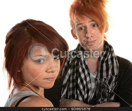 Frustrated Girlfriend stock photo, Annoyed girlfriend with frustrated boyfriend in mohawk by Scott Griessel
