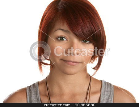 Sad Teenage Girl stock photo, Mildly disappointed teenage girl on isolated background by Scott Griessel