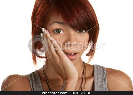 Surprised Teenage Girl stock photo, Cute surprised teenage girl with hand on cheek by Scott Griessel