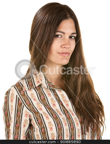 Beautiful Woman Over White stock photo, Gorgeous Hispanic woman over isolated background by Scott Griessel
