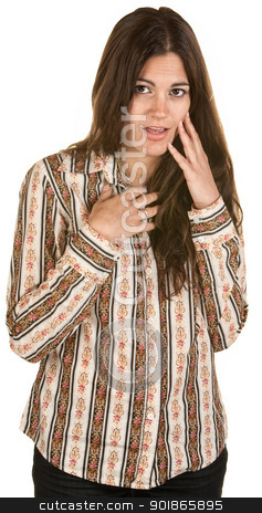 Embarrassed Young Woman stock photo, Shy Hispanic woman with hand on chest and face by Scott Griessel