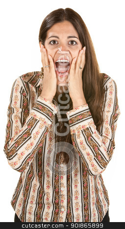 Overjoyed European Woman stock photo, Overjoyed woman over white with hands on face by Scott Griessel