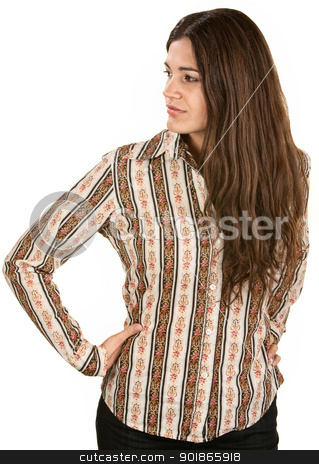 Gorgeous Woman Looking Sideways stock photo, Cute young woman looking sideways with hands on hips by Scott Griessel
