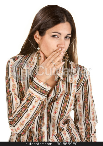 Lady Whispering stock photo, Cute young woman whispering with hand near mouth by Scott Griessel