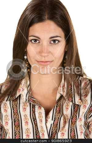 Lovely Woman Gazing Ahead stock photo, Gorgeous Hispanic woman over isolated background by Scott Griessel