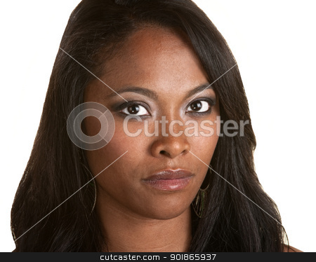 Beautiful and Serious Black Woman stock photo, Serious Black woman with long hair on isolated background by Scott Griessel