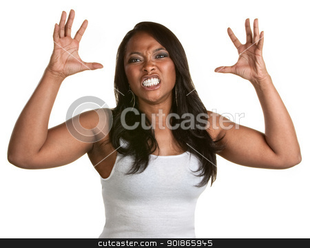 Woman With Clenched Teeth stock photo, Angry woman with teeth clenched and hands out by Scott Griessel