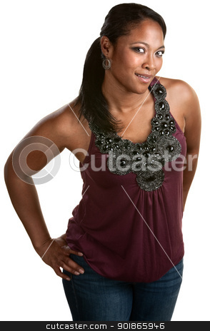 Smiling Woman With Hands on Hips stock photo, Beautiful African woman with hands on hips smiling by Scott Griessel