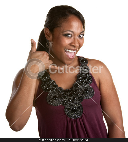 Smiling Woman with Phone Gesture stock photo, Cute African woman using hands in telephone gesture by Scott Griessel