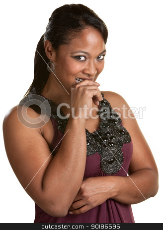 Lady Holds Her Laughter stock photo, Giggling young lady holding in her laughter by Scott Griessel