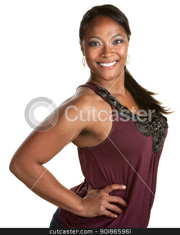Upbeat Young Woman stock photo, Young upbeat Black woman with hands on hips by Scott Griessel