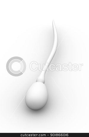Sperm Cell stock photo, Sperm Cell. 3D rendered Illustration. Isolated on white.