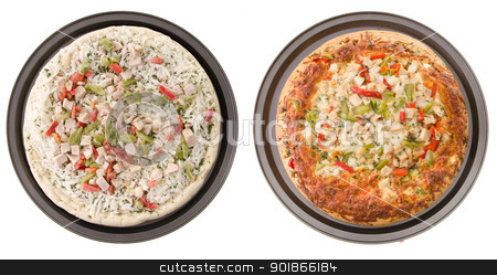 Chicken Pizza stock photo, Comparison of a cooked and uncooked chicken pizza, isolated on a white background. by Richard Nelson