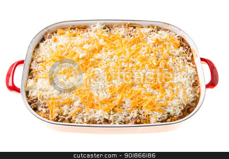 Cheesy Casserole stock photo, A cheesy casserole in a large dish, isolated against a white background. by Richard Nelson