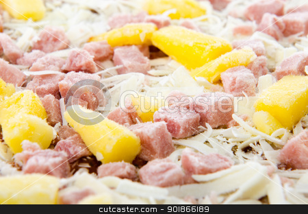 Frozen Hawaiian Pizza stock photo, Closeup of a frozen hawaiian pizza with pineapple and ham. by Richard Nelson