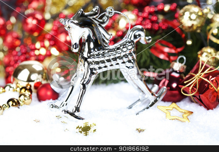 Christmas composition stock photo, Christmas composition with The rocking-horse. by klenova