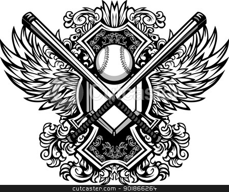 Baseball Softball Bats Ornate Graphic Vector Template stock vector clipart, Baseball Bats, Baseball, and Home Plate with Ornate Wing Borders Vector Graphic by chromaco