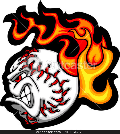 Softball or Baseball Face Flaming Vector Cartoon stock vector clipart, Cartoon Vector Image of a Flaming Softball with Angry Face by chromaco