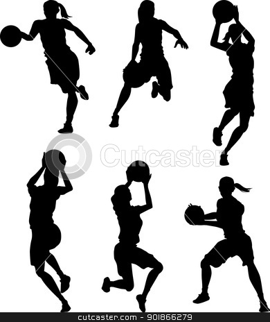 Basketball Female Women Silhouettes stock vector clipart, Vector Images of Female Basketball Woman Silhouettes by chromaco
